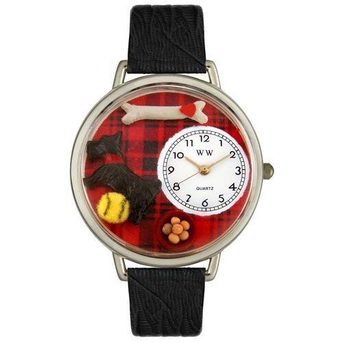 Unisex Scottie Black Skin Leather and Silvertone Watch in Silver