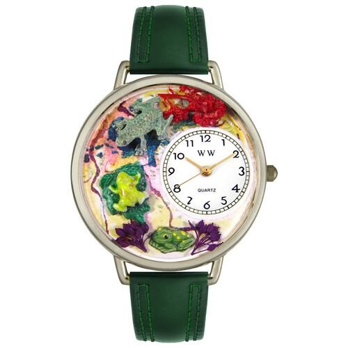 Unisex Frogs Hunter Green Leather and Silvertone Watch in Silver