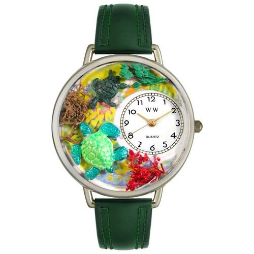 Whimsical Watches Unisex Turtles Hunter Green Leather and Silvertone Watch in Silver