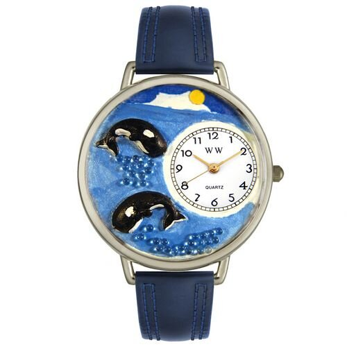 Unisex Whales Navy Blue Leather and Silvertone Watch in Silver