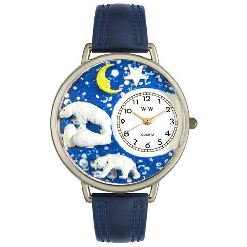 Unisex Polar Bear Navy Blue Leather and Silvertone Watch in Silver