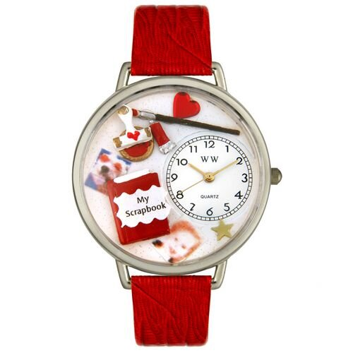 Unisex Scrapbook Red Leather and Silvertone Watch in Silver