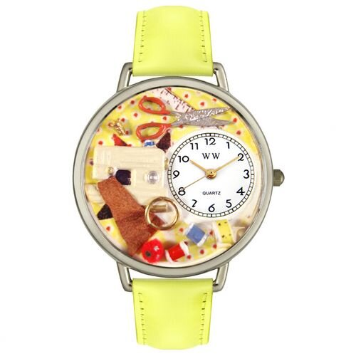 Whimsical Watches Unisex Sewing Yellow Leather and Silvertone Watch in Silver