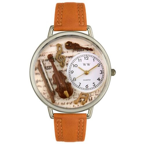 Whimsical Watches Unisex Violin Tan Leather and Silvertone Watch in Silver