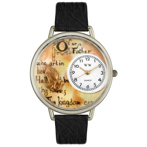 Whimsical Watches Unisex Lord's Prayer Black Skin Leather and Silvertone Watch in Silver