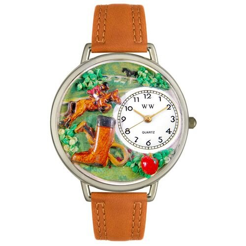 Unisex Horse Competition Tan Leather and Silvertone Watch in Silver