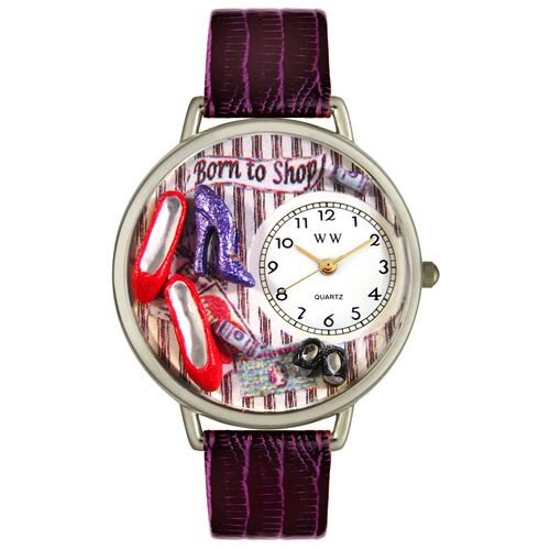 Whimsical Watches Unisex Shoe Shopper Purple Leather and Silvertone Watch in Silver