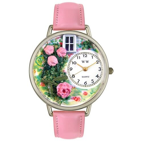 Unisex Roses Pink Leather and Silvertone Watch in Silver