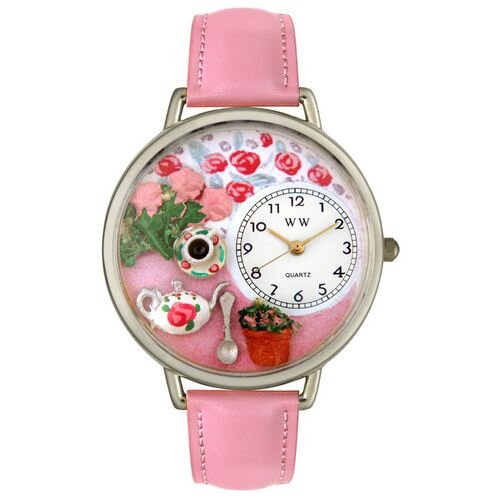 Unisex Tea Roses Pink Leather and Silvertone Watch in Silver