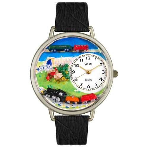 Whimsical Watches Unisex Trains Black Skin Leather and Silvertone Watch in Silver