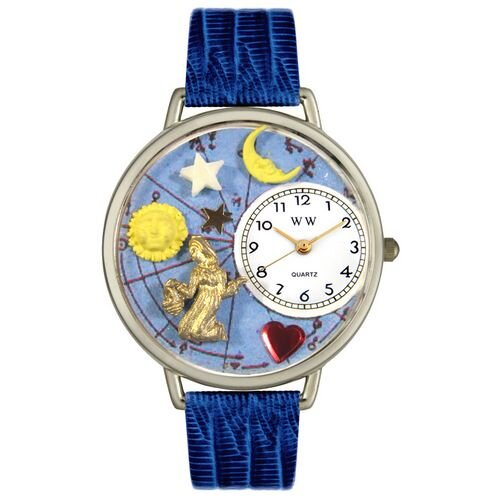 Unisex Virgo Royal Blue Leather and Silvertone Watch in Silver