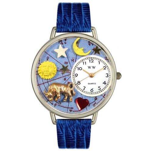 Whimsical Watches Unisex Taurus Royal Blue Leather and Silvertone Watch in Silver