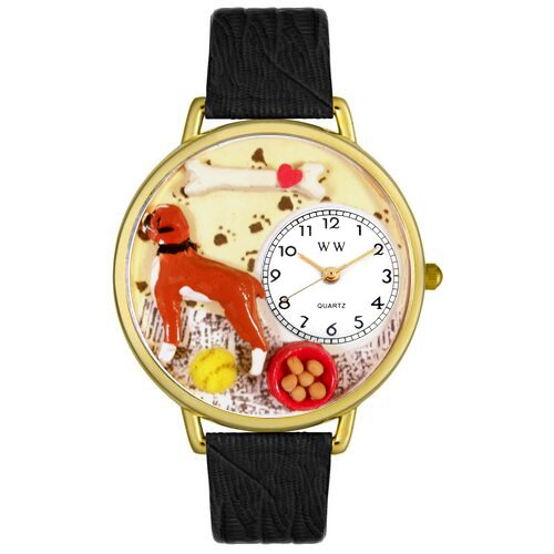 Whimsical Watches Unisex Boxer Black Skin Leather and Goldtone Watch in Gold