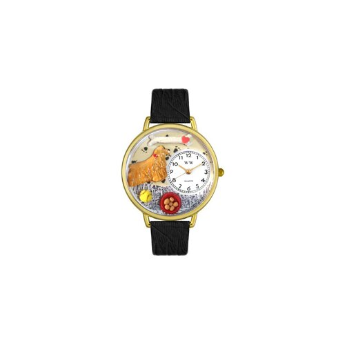 Whimsical Watches Unisex Cocker Spaniel Black Skin Leather and Goldtone Watch in Gold
