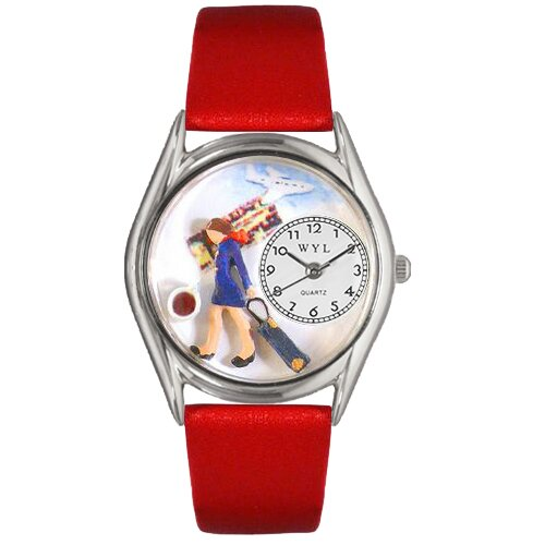 "Whimsical Watches Women""s Flight Attendant Red Leather and Silvertone Watch in Silver"
