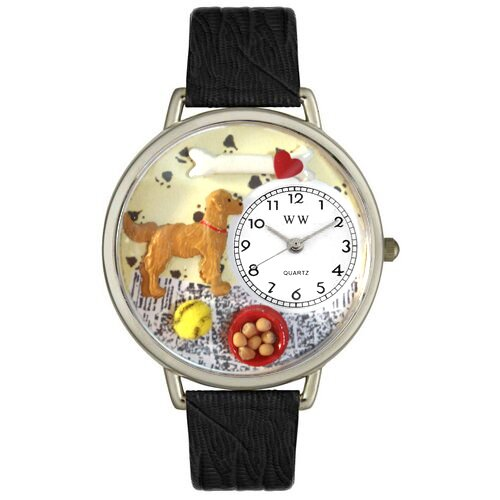 Whimsical Watches Unisex Golden Retriever Black Skin Leather and Silvertone Watch in Silver