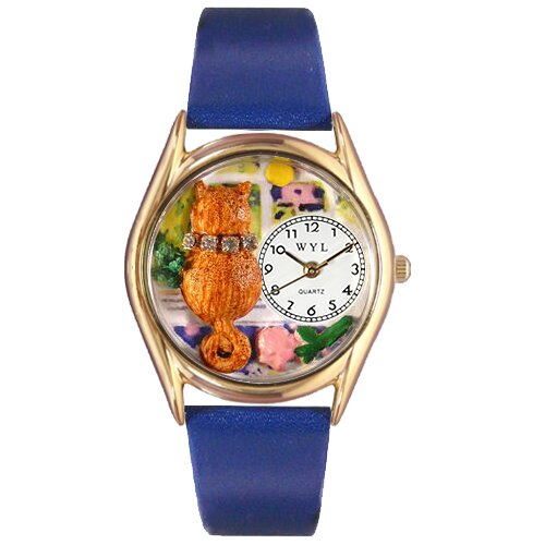 Whimsical Watches Women's Aristo Cat Royal Blue Leather and Gold Tone Watch