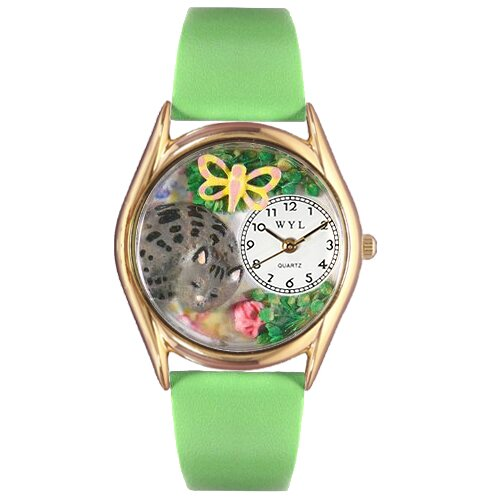 Women's Cat Nap Green Leather and Gold Tone Watch