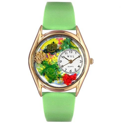 Women's Turtles Green Leather and Gold Tone Watch