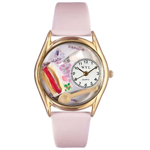 Whimsical Watches Women's Pastries Pink Leather and Gold Tone Watch