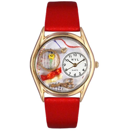 Women's Needlepoint Red Leather and Gold Tone Watch