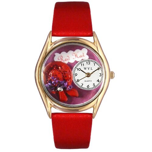 Whimsical Watches Women's Red Hat Red Leather and Gold Tone Watch
