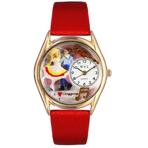 Women's Clogging Red Leather and Gold Tone Watch