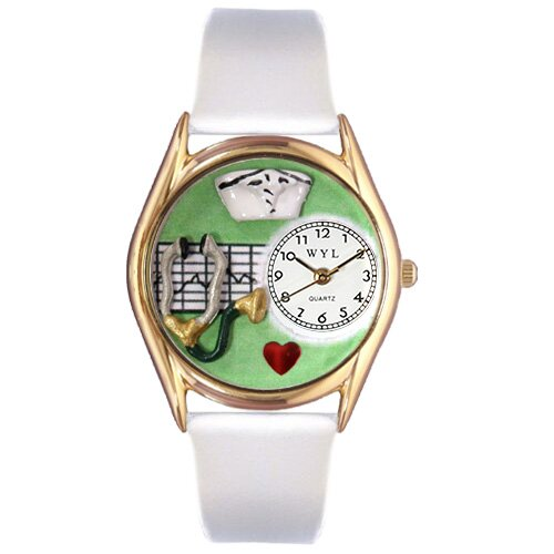 Women's Nurse Green White Leather and Gold Tone Watch