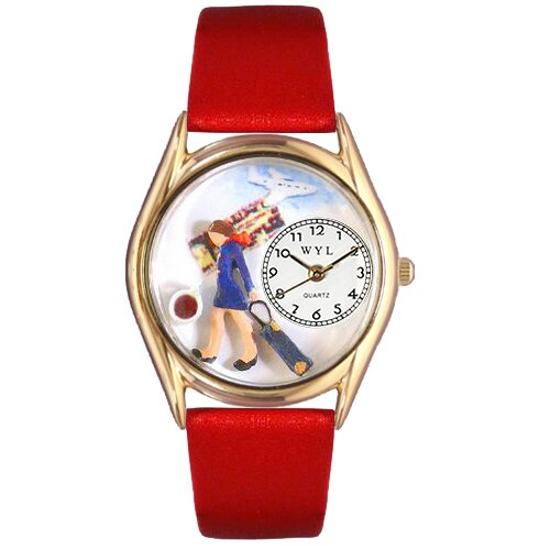 Women's Flight Attendant Red Leather and Gold Tone Watch