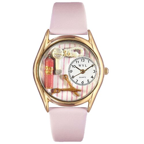 Whimsical Watches Women's Beautician Female Pink Leather and Gold Tone Watch