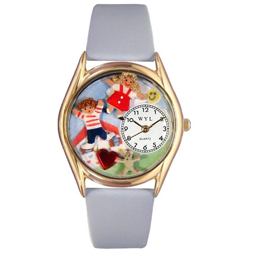 Women's Day Care Teacher Red Leather and Gold Tone Watch
