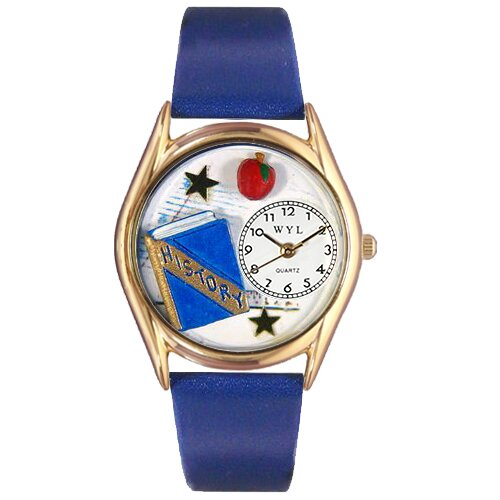 Whimsical Watches Women's History Teacher Royal Blue Leather and Gold Tone Watch