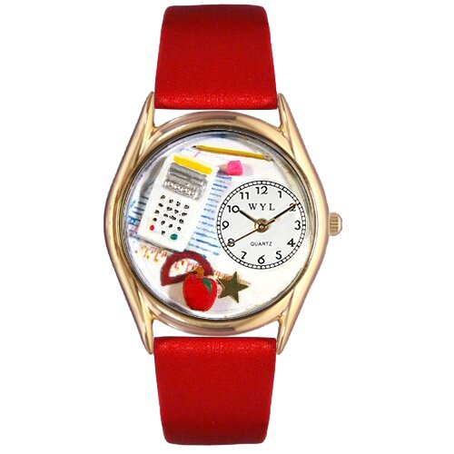 Women's Math Teacher Red Leather and Gold Tone Watch