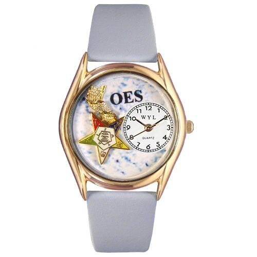 Whimsical Watches Women's Order of the Eastern Star Baby Blue Leather and Gold Tone Watch