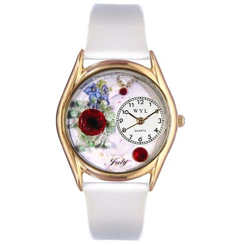 Whimsical Watches Women's Birthstone: July White Leather and Gold Tone Watch