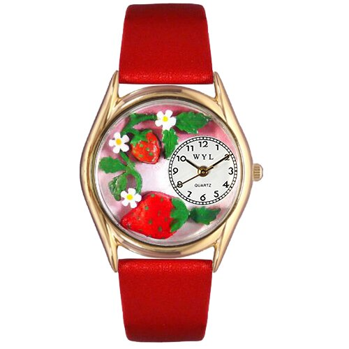 Women's Strawberries Red Leather and Gold Tone Watch
