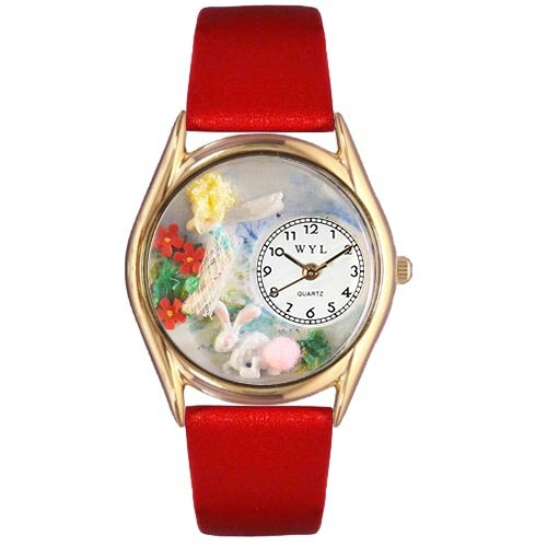 Women's Garden Fairy Red Leather and Gold Tone Watch