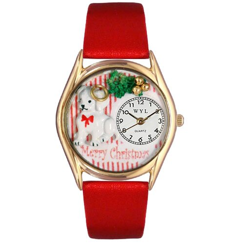 Women's Christmas Puppy Red Leather and Gold Tone Watch