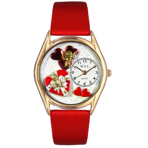 Women's Valentine's Day Red Leather and Gold Tone Watch