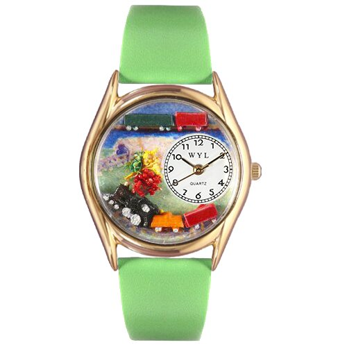 Women's Trains Green Leather and Gold Tone Watch