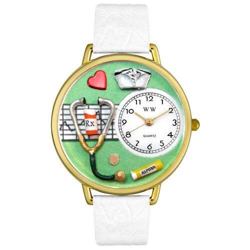 Unisex Nurse Green White Skin Leather and Gold Tone Watch