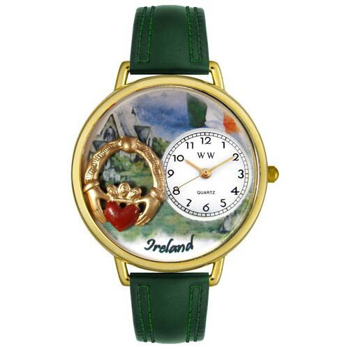 Unisex Ireland Hunter Green Leather and Gold Tone Watch