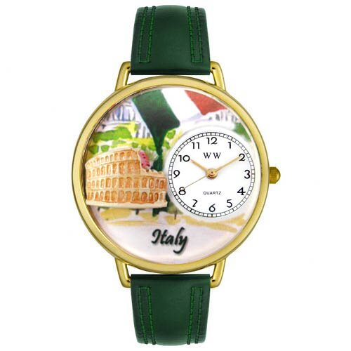 Unisex Italy Hunter Green Leather and Gold Tone Watch