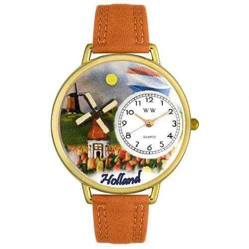 Whimsical Watches Unisex Holland Tan Leather and Gold Tone Watch