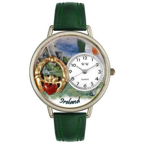 Unisex Italy Hunter Green Leather and Silver Tone Watch