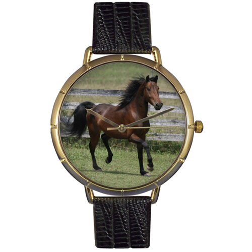 Unisex Morgan Horse Photo Watch with Black Leather
