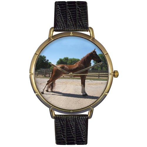 Unisex Tenessee Walker Horse Photo Watch with Black Leather