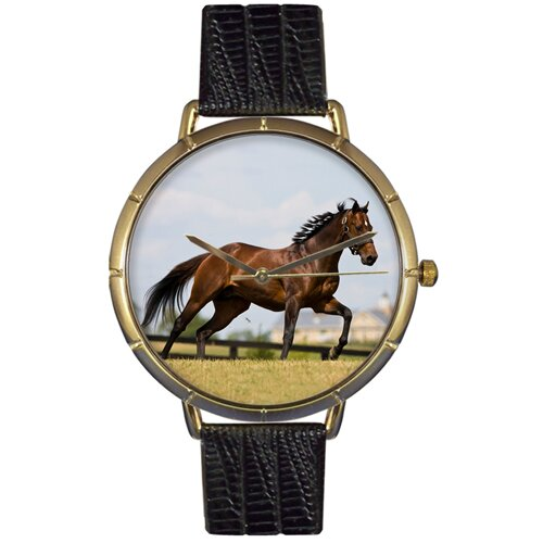 Unisex Thoroughbred Horse Photo Watch with Black Leather