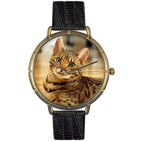 Whimsical Watches Unisex Bengal Cat Photo Watch with Black Leather