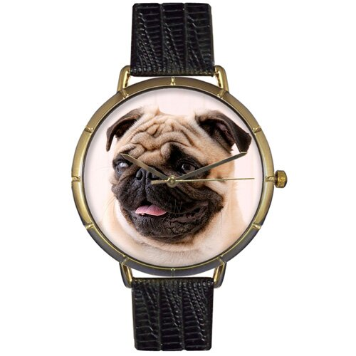 Whimsical Watches Unisex Pug Photo Watch with Black Leather